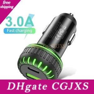 36w Pd caricabatteria da auto di tipo C Pd QC3 0,0 Usb ricarica rapida 3 .0 Led Light caricatore del telefono mobile a 2 porte USB di tipo C veloce di carico del caricatore universale