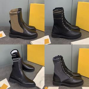 Le nuove donne Rockoko Combat Boots Leather maglia della caviglia Martin Boot Biker Boots pelle di vitello nera Stretch Scarpe Tessuto antiscivolo suola di gomma con la scatola