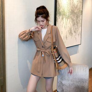Luz temperamento maduro soltas de comprimento médio casaco da cintura lace-up para as mulheres magro outono Leve Mature terno 2020 terno novo