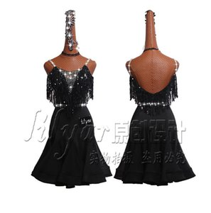 Latin Dance Dress Latin Skirt Competition Dress Costumes Performing Adult Customize Children Black Fishbone Skirt Slim Fit