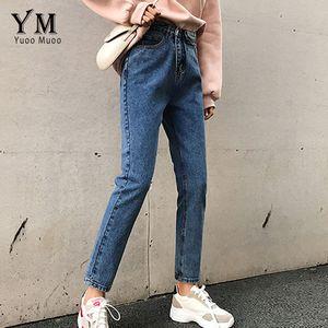 YuooMuoo Kadınlar Jeans 2020 Plus Size Vintage Yüksek Bel Düz Jeans Sonbahar Kış Pantolon Kadın Casual Kore Denim pantolonlar