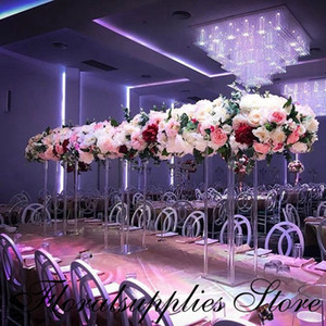 New Style Clear Acrylic Flower Stand Wedding Centerpiece Table Decoration Geometric Column Floor Pillar Props