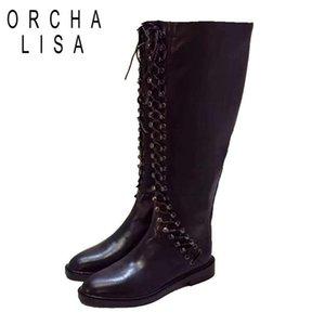 Orcha LISA Подлинная Корова кожа колено высокие сапоги женщин дамы мотоциклов сапоги крест связали моды обувь женщина Botas Mujer C927