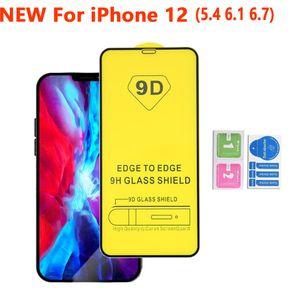 9D completa tampa Glue vidro temperado tela do telefone iPhone Para Protector 12 PRO MAX 11 XR X XS MAX 8 7 6 Samsung A01 A11 A21 A31 A41 A51 A71 5G