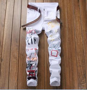 hot popular men's printing luxury white Jeans Designer Men Jeans hole Famous Brand Slim Fit Mens Printed Jeans Biker Denim Pants 5601