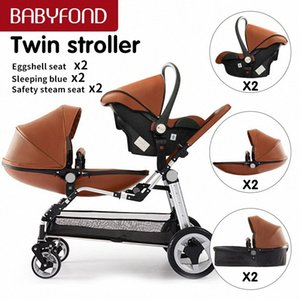 couro Babyfond alta qualidade Egg shell Twins carrinho de alta paisagem Duplo bebê Pram Folding Pram frete grátis dois berços U24C #