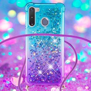 Liquid Glitter Case SAM A11 A21 A51 A71 A31 A01 5G A21S A41 M60 A81 2 Couleurs Gradient Design Adhésif pour pare protection avec corde