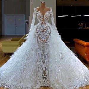 Las plumas blancas hinchadas eveningdresses de boda árabe del traje de soirée Couture Aibye vestido de novia Caftanes desfile de vestidos de Dubai