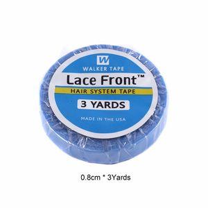 Soporte del frente del cordón de la cinta Ancho 0.8cm doble lado de la PU de cinta 3yards cinta del pelo Extensiones del pelo Adhesivos Pegamento para el cordón de las pelucas azules