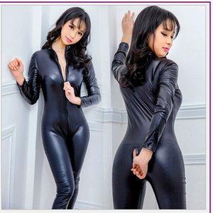Sıcak Sexy Lingerie Lateks Erotik PVC Catsuit Kostümler Bodysuits Fetiş Çift Fermuar Uzun Kollu Açık Kasık Pole Dance Clubwear