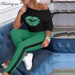 Женщины печати Tracksuit наборы Lady 2020 Осень Sexy плеча 2pcs Набор Шикарные Блуза + эластичный пояс Длинные брюки Наборы