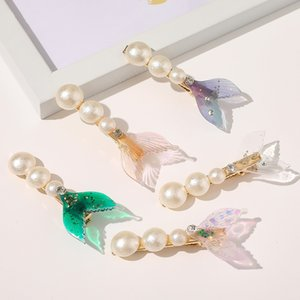 Nouveau mode belle queue de poisson perle en épingle à cheveux clip clip duckbill coiffe côté pour les femmes Fille Clamp Couvre-chef Accessorie cheveux