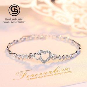 plata de ley S999 k0Ug1 corazón del estilo de Corea exquisita S999 joyería de plata esterlina estilo coreano heartbracelet exquisito brazalete de joyería