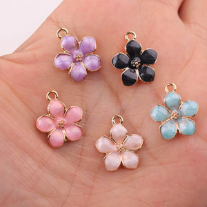 Mix Enamel Flower Charms For Earrings Pendants Necklace For Women Vintage Gold Alloy Jewelry Findings DIY Jewelry