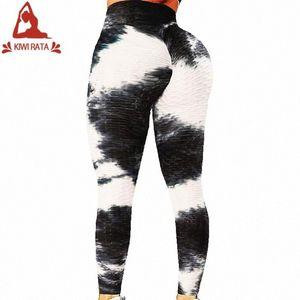 KIWI RATA Tie-Farbstoff Yoga Leggings Frauen mit hohen Taille Strukturierter Workout Gamaschen Beute Scrunch Yoga Pants Abnehmen mit Rüschen besetzt Strumpfhosen IRi5 #
