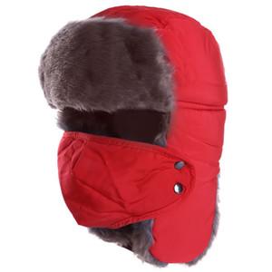 Dihope Nueva invierno pasamontañas Earflap del bombardero de las gorras de la bufanda mujeres de los hombres de Rusia Trapper sombrero con orejeras Trooper Esquí gorra de Scarve