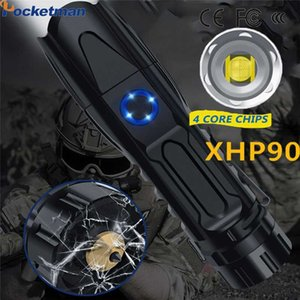 Super Bright LED With XHP90 Lamp Bead Rechargeable Torch linterna Smart chip control With bottom attack cone USB