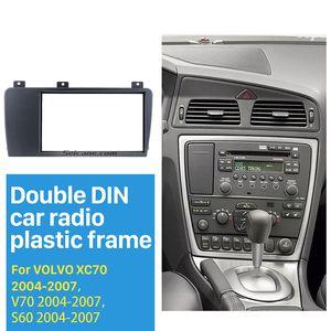 راديو مزدوجة الدين سيارة لفافة الإطار ل 2004 2005 2006 2007 فولفو XC70 V70 تركيب S60 تريم لوحة لوحة كيت