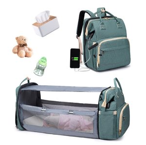 New Multifunctional Portable Folding Baby Bed Mummy Bag Large Capacity Fashion Outing Mother and Baby Bag Backpack Outdoor storage bag