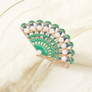 100pcs lot New napkin ring pearl fan-shaped napkin buckle diamond alloy western ring mat towel