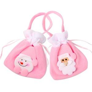Natale rosa coulisse borsa rosa Snowman Santa Clause gioielli regalo Sacchetti bambini Candy spazzolato coulisse tasca