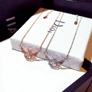 Schöne Flügel Anhänger Halsketten Für Frauen Kristalle Strassmode Mode Weibliche Schmuck Halskette Zubehör