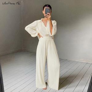 Mnealways18 beige plisado pierna ancha pantalones de las mujeres de los pantalones de moda floja ocasional 2020 pantalones del verano de la oficina de señora pantalones largos elegantes LJ200820