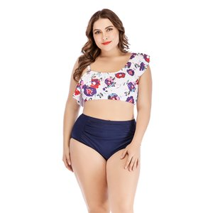 Nouveau mode d'impression florale d'une épaule couleur de contraste jeu bikini oversize femme taille plus haute conception maillot de bain femme à carreaux bleu taille volantée