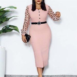 Pink Dress O Neck Transparent Mesh Long Sleeves Polka Dot Classy Women Elastic Elegant Office Lady Modest Female African Fashion0921