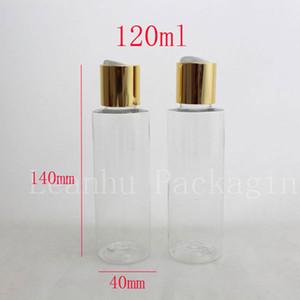 Wholesale 120 ml 50 pc transparent Beautiful Color Disc Top Cap Empty Plastic Bottles , Bottle With Screw Cap