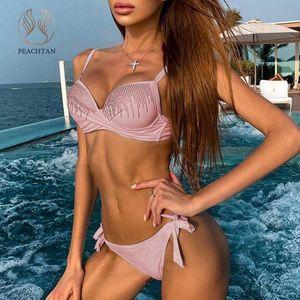 Peachtan white swimsuit female Rhinestone bikini set 2020 Push up swimwear women Shiny bikini Bathers bathing suit biquini new