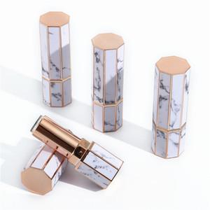Marmo Lipstick Tubes Octangle Svuotare Lip Gloss tubo del rossetto delle labbra bottiglie di plastica di viaggio contenitori cosmetici bottiglia bottiglie HWC1088