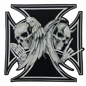 NEW ARRIVAL LARGE SIZE CROSS DEATH DEVIL SKULL PATCH 천사 SKULL 오토바이 BIKER 수 놓은 BACK PATCH IRON ON SEW 무료 배송 CGLR 번호