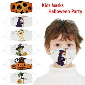 Niños Stock Halloween Party Masks 3D Impreso Pumpkin Bruja Fantasma patrón Niños Mascarilla Cara Lavable Cubierta de boca de algodón reutilizable FY9186