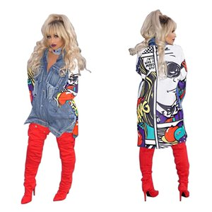 Fashion Women's long-sleeved denim coat women's top lapel for old stitching M0BZ