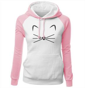 Kawaii Womens Hoodies Autumn Winter Raglan Sweatshirt For Female Cute Cat Print Pink Lady Sexy Fleece Hoody With Hat Kpop