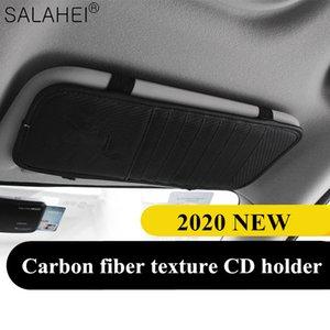 2020 New Car Sun Visor CD Holder CD Organizer Car Box Board Texture Bag Accessories Tidying Carbon Stowing Fiber Storage Kphco