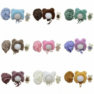 3 Pcs set Newborn Photography Props Fluffy Stretch Knit Wrap with Hat Bear Toy klts#
