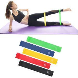 5pcs / set de Yoga bandas de resistencia de estiramiento de goma Loop Ejercicio Fitness Equipment entrenamiento de la fuerza del cuerpo Pilates entrenamiento de la fuerza CCA12412