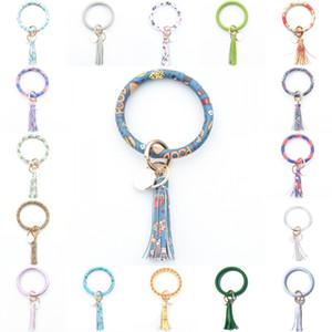 Leather Wristlet Keychain Bracelet Bangle Creative Round Key Ring Large Circle Tassel Key Chain Bracelet Holder for Women Girls YYA1398