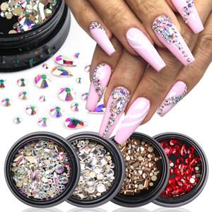 1 Box AB Crystal Rhinestone Diamond Gems Mixed Sizes Flatback Glitter Glass Shiny Gems For 3D Nail Art Decorations Beauty LA1822
