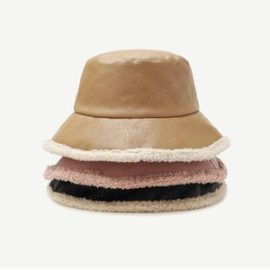 Hiver Pu cuir lambswool Chapeau Femmes PU chaud velours solide Bucket Chapeaux unisexe Mode double face Caps Panama Pêcheur