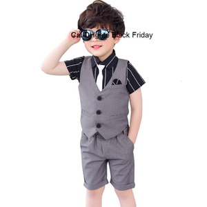 2020 Summer Boys Clothing Set Toddler Kids Solid Vest + Shorts 2pcs Set Baby Boy Wedding Party Formal Suit Set Children Outfits