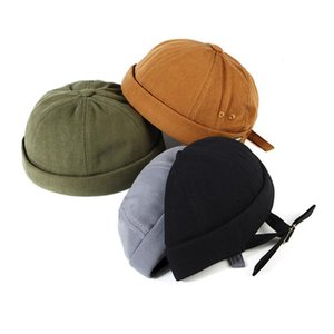 Nouveau Hommes Femmes Calotte Marin Cap Solide Couleur Rolled Cuff Bucket Cap brimless Chapeau cuir boucle de réglage de chapeaux de coton