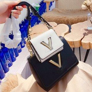 Womens borse della borsa 2pcs Set V Blocco Flap Bag Twist spalla catena di borsa a tracolla Multi Borse Pochette cadaveri trasversali Pouch Lady Tote