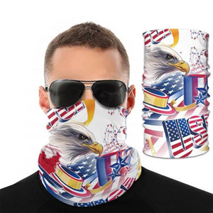 Mode États-Unis d'Amérique Oiseau National Drapeau Foulard imprimé magique Multifonctionnel Masque Sports de plein air anti-moustiques Wristband Cap antipoussière