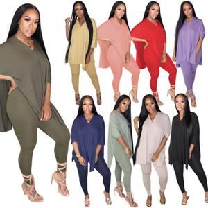Оптовых Женщины Tracksuit двухкусочного Set Эпикировка Дизайнер Solid Color Casual Женская одежда Подтяжка Tops костюм Плюс Размер Новой моды 2020