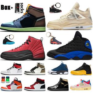 des chaussures nike air jordan off white 2020 Stock X Hommes Baskets Chaussures De Basket-ball Top Qualité Voile 4 4s Jumpman 1 Gris Fumée Chicago 12 12s Hyper Royal 13