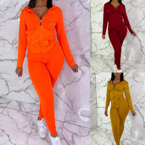 Abbigliamento Donna 2 piece set solido casuale di colore a maniche lunghe con cappuccio Cardigan a due pezzi Outfits autunno Donne Tute