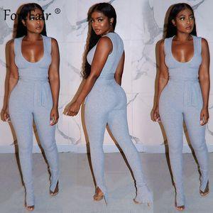 Forefair sport Automne Femmes Jumpsuit manches taille haute Bandage moulante longues Pantalons solide de remise en forme à faible poitrine Jumpsuit